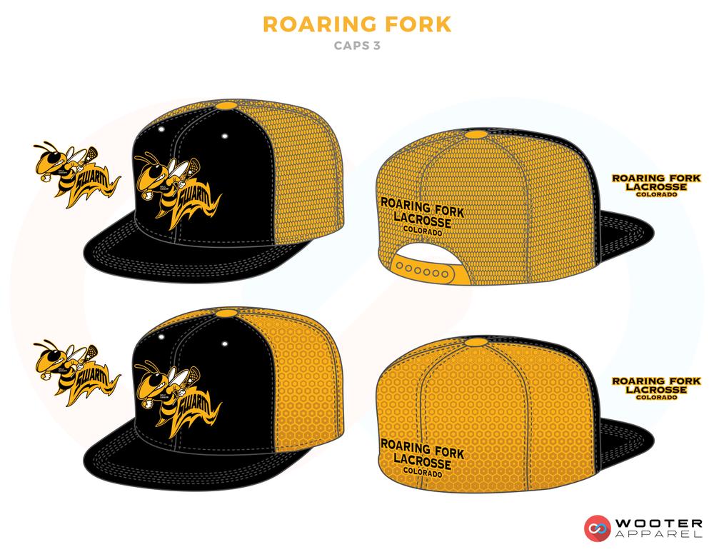 ROARING FORK Yellow Black and White Lacrosse Snapback Cap