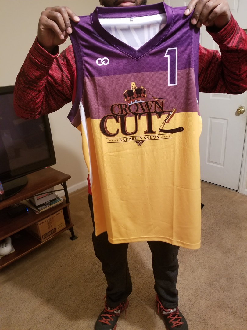 CROWN CUTZ Violet purple yellow and white basketball uniform jersey