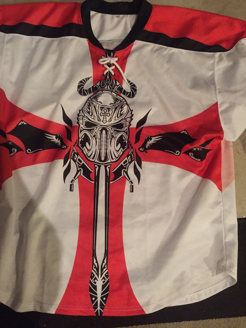 White black and red hockey jersey