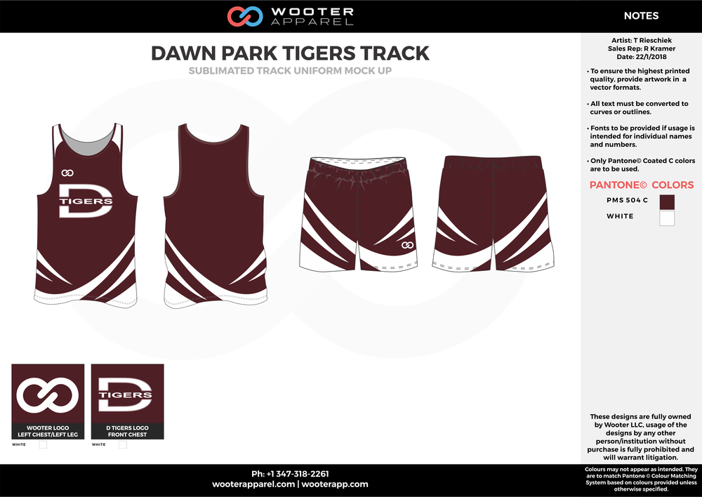 DAWN PARK TIGERS TRACK Maroon and White Basketball Track Uniforms Jerseys and Shorts