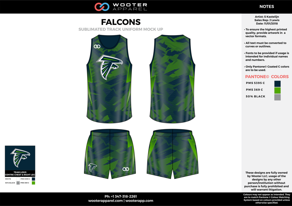 FALCONS Blue Green and White Basketball Track Uniforms Jerseys and Shorts