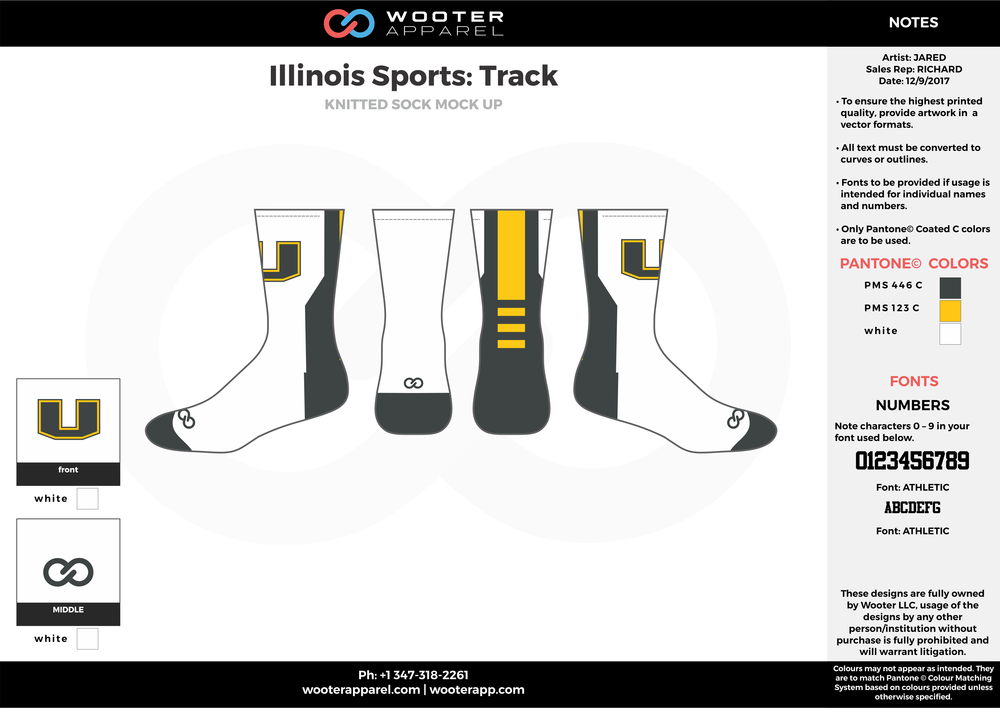Illinois Sports Track Black Yellow and White Basketball track uniforms socks