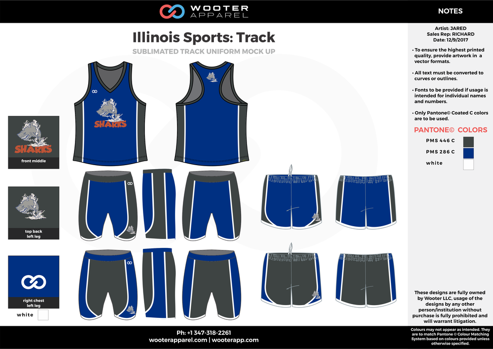 Illinois Sports Track Black Blue and white Basketball Track Uniforms Jerseys and Shorts