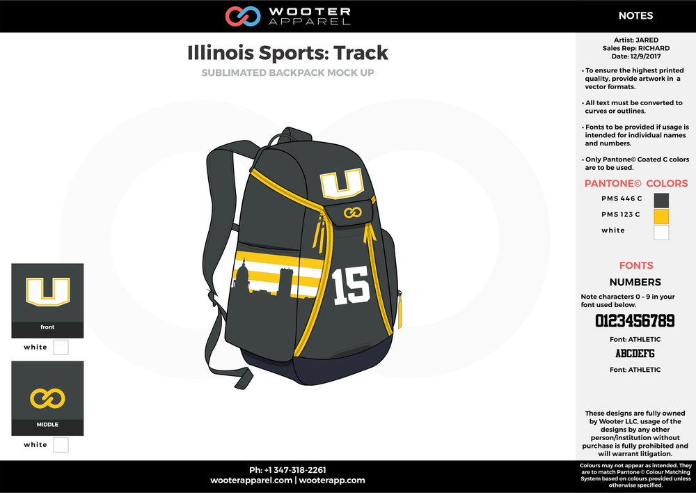 Illinois Sports Track Black Yellow and white Basketball track backpack