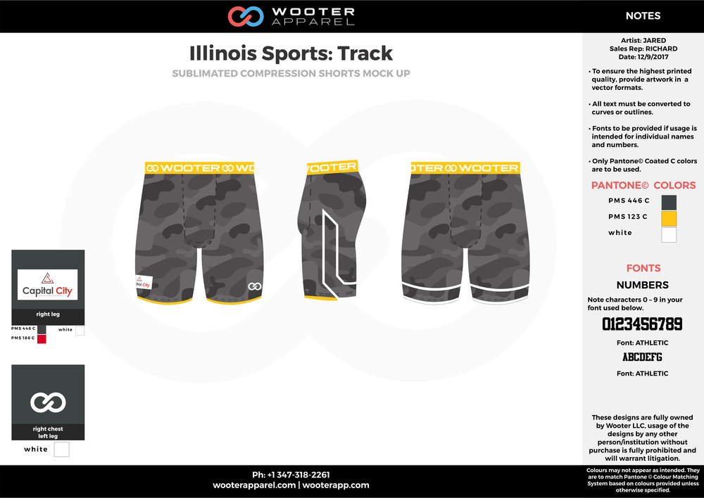 Illinois Sports Track Black Yellow and White Sublimated Compression Track uniforms shorts