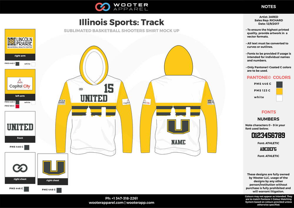 Illinois Sports Track Black Yellow and White Sublimated Track Uniforms Hoodie