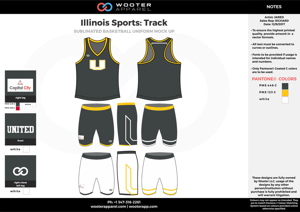 Illinois Sports Track Black Yellow and White Sublimated Compression Uniforms Tank and Shorts