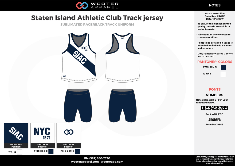Staten Island Athletic Club Track jersey Blue and White Sublimated Compression Track Uniforms tank and shorts