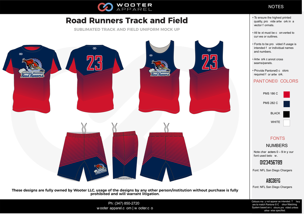 Road Runners Track and Field Red Blue Black and white Basketball Track Uniforms Jerseys Shirts and Shorts