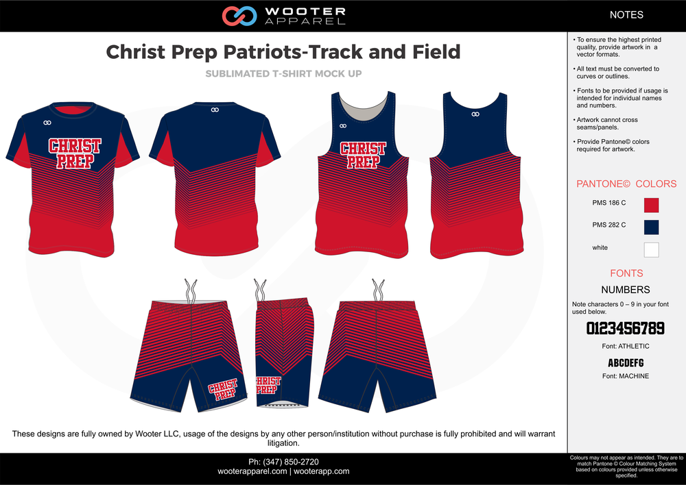 Christ Prep Patriots - Track and Field Red Blue and white Basketball Track Uniforms Jerseys Shirts and Shorts