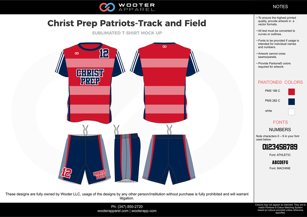Christ Prep Patriots - Track and Field Red Blue and white Sublimated Compression Track Uniforms Shirts and Shorts
