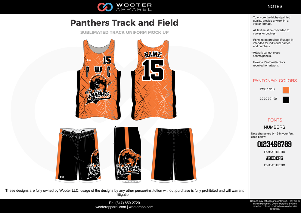 Panthers Track and Field Orange Black and white Sublimated Track Uniforms Jerseys and Shorts