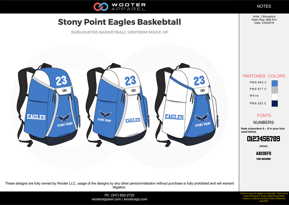 Stony Point Eagles Basketball Backpack 2.png