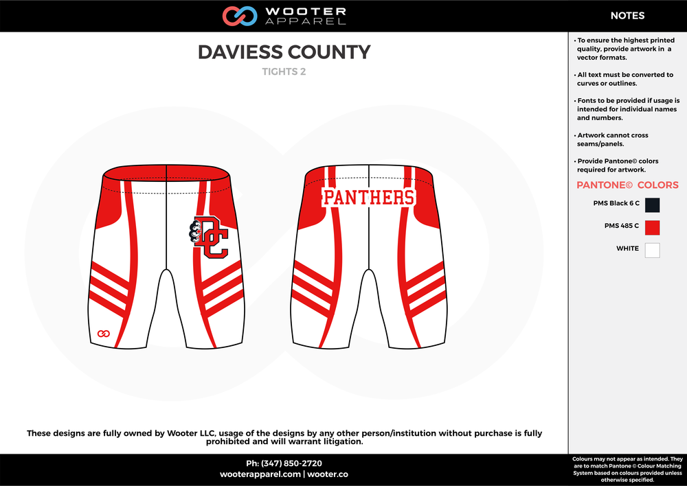 DAVIESS COUNTY Black Red and White Wrestling Uniforms Shorts