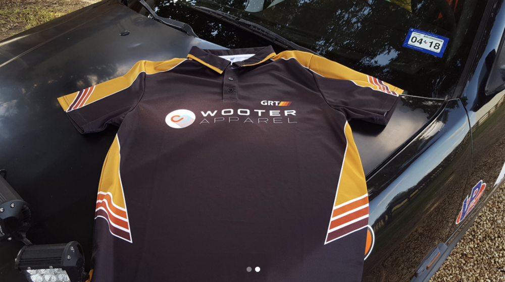 Along with being a featured sponsor, Wooter Apparel presented owner and driver Garrett Griffith and his Griffith Rally Team (GRT) with customized polo shirts, as GRT recently competed in the 100 Acre Wood Rally car race in Missouri.