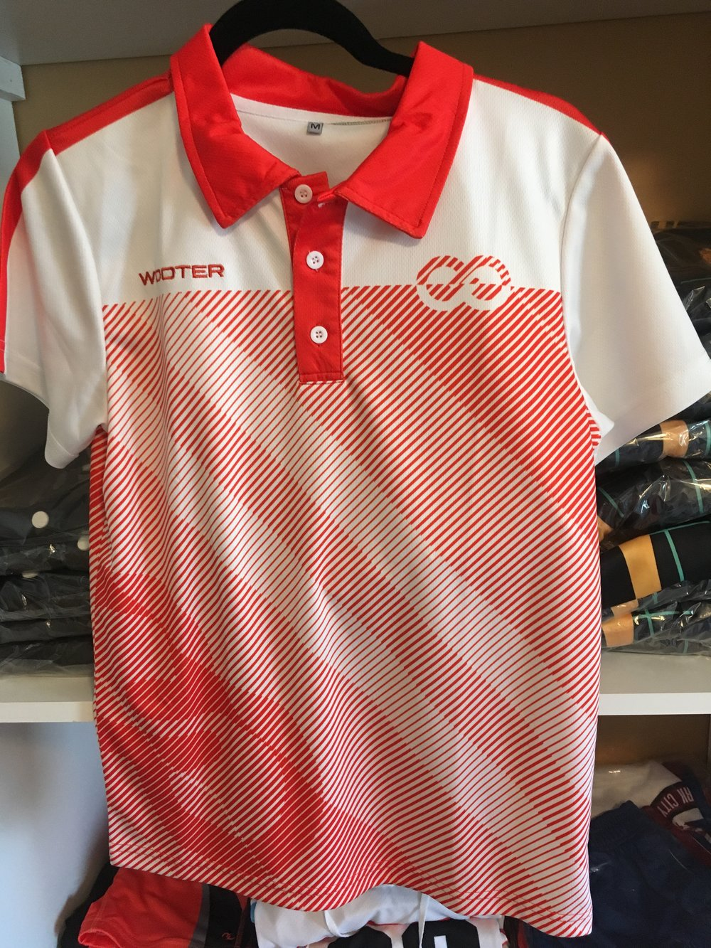 Red and White Lacrosse uniform Polo shirt