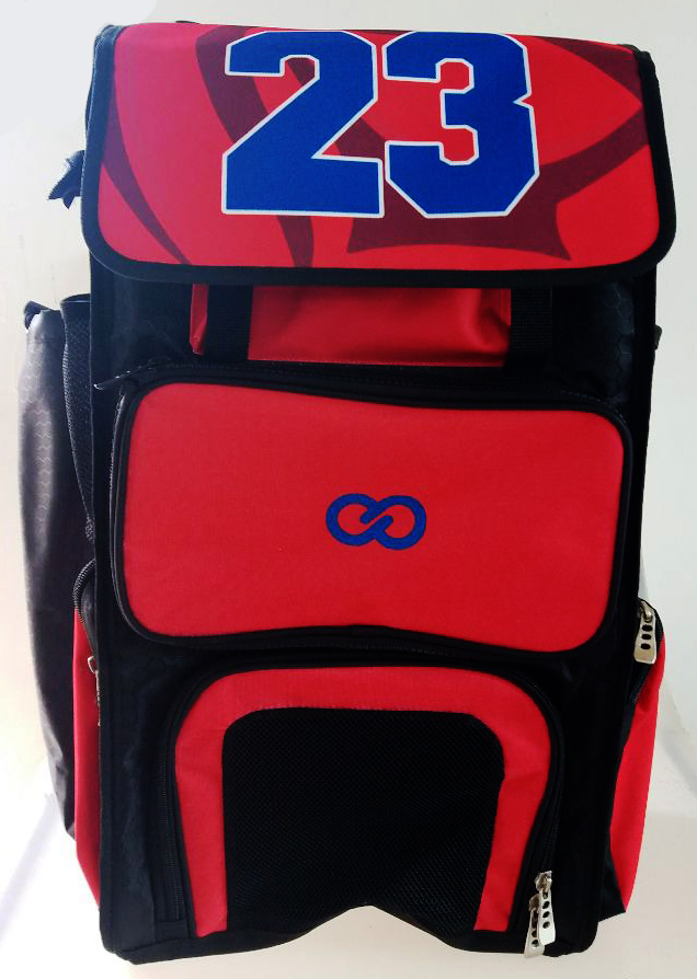Red Black and Blue Baseball Bag