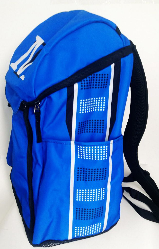 Blue Black and White Baseball Backpack
