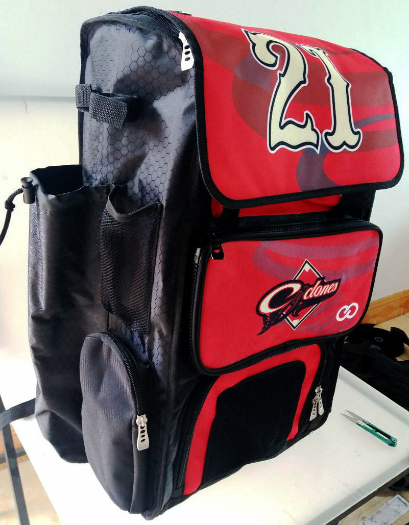 Red Black and White Baseball Bag