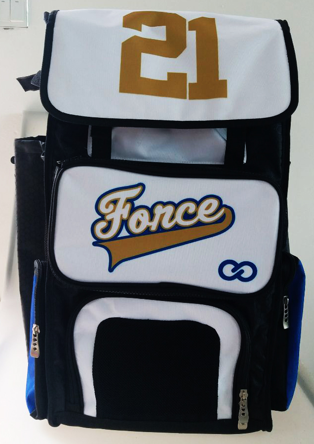 Force White Brown Black and Blue Baseball Bag