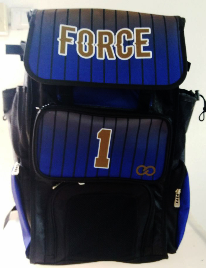 FORCE Black Blue and Brown Baseball Bag