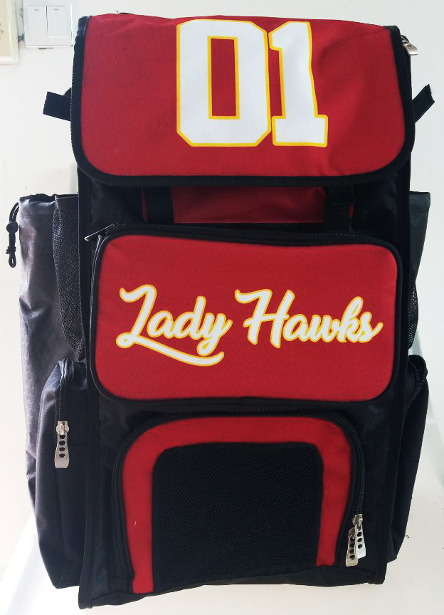 Lady Hawks Red Black White and Yellow Baseball Bag
