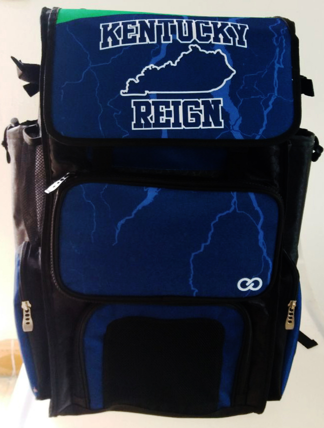 KENTUCKY REIGN Blue Black and White Baseball Bag