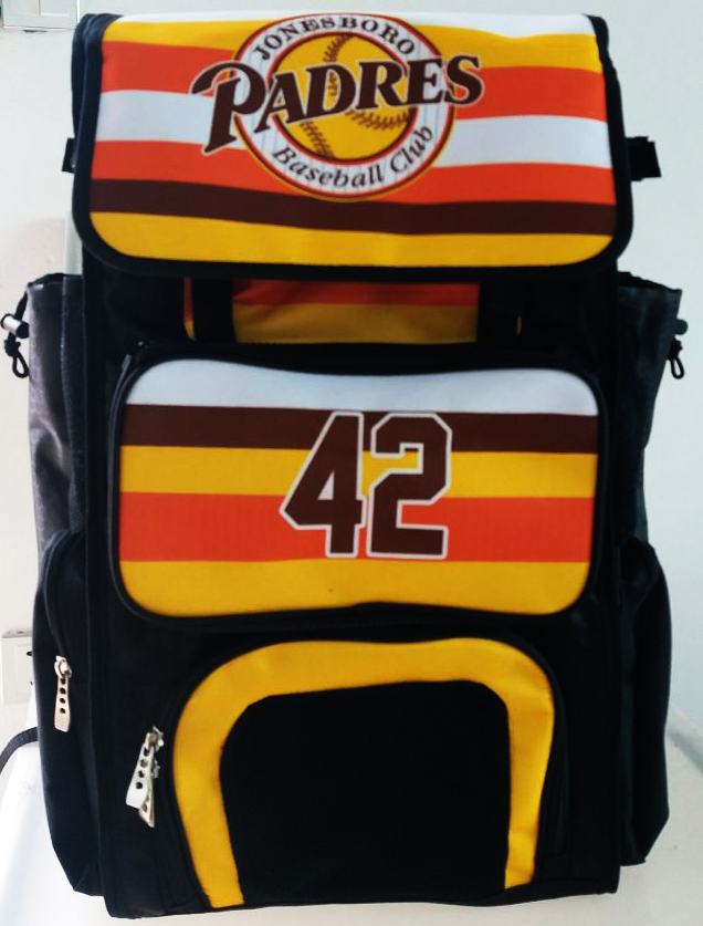 PADRES Black Yellow Brown Red and White Baseball Bag