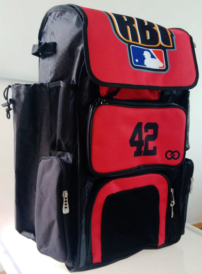 RBI Red Black Blue and White Baseball Backpack
