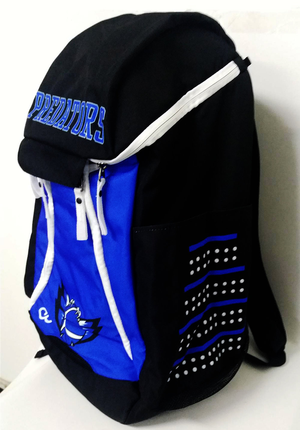 Blue Black and White Basketball Backpack