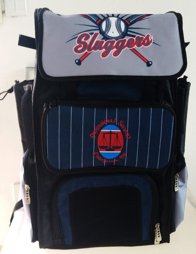 Sluggers Black Blue Red Gray and White Baseball Bag