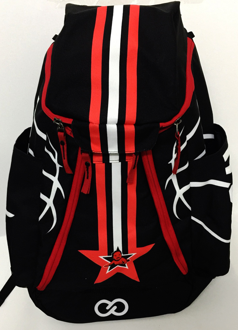 Black Red and White Basketball Backpack