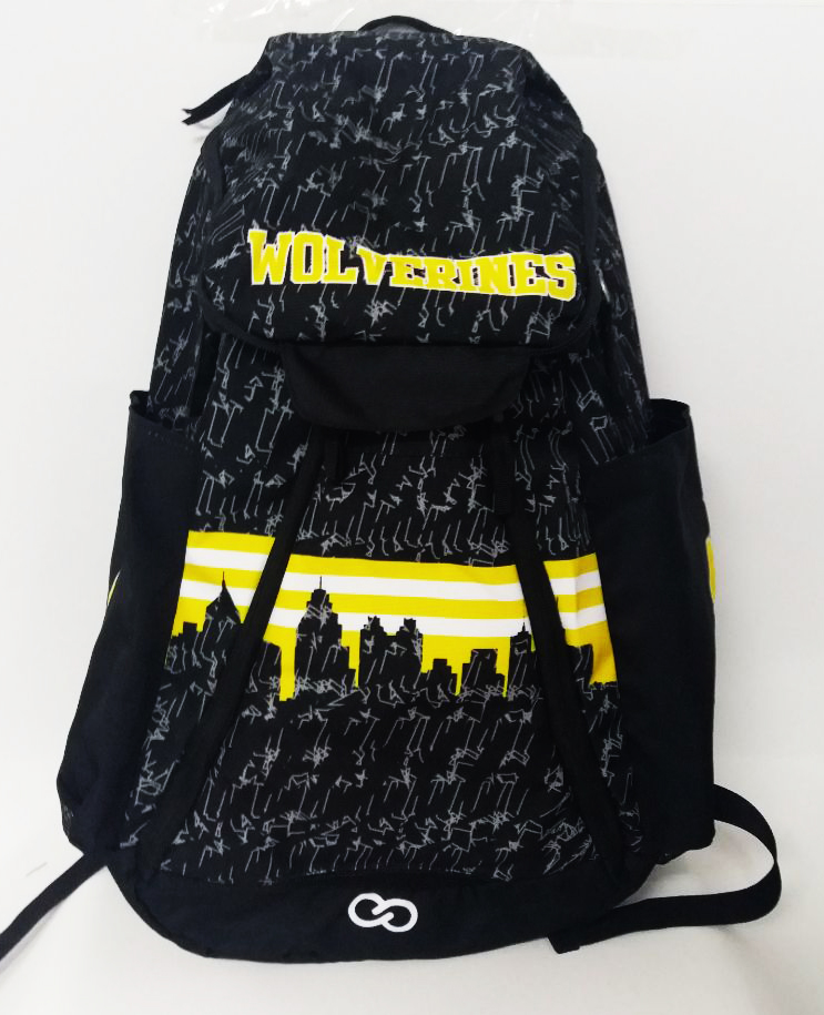 Black Yellow and White Basketball Backpack