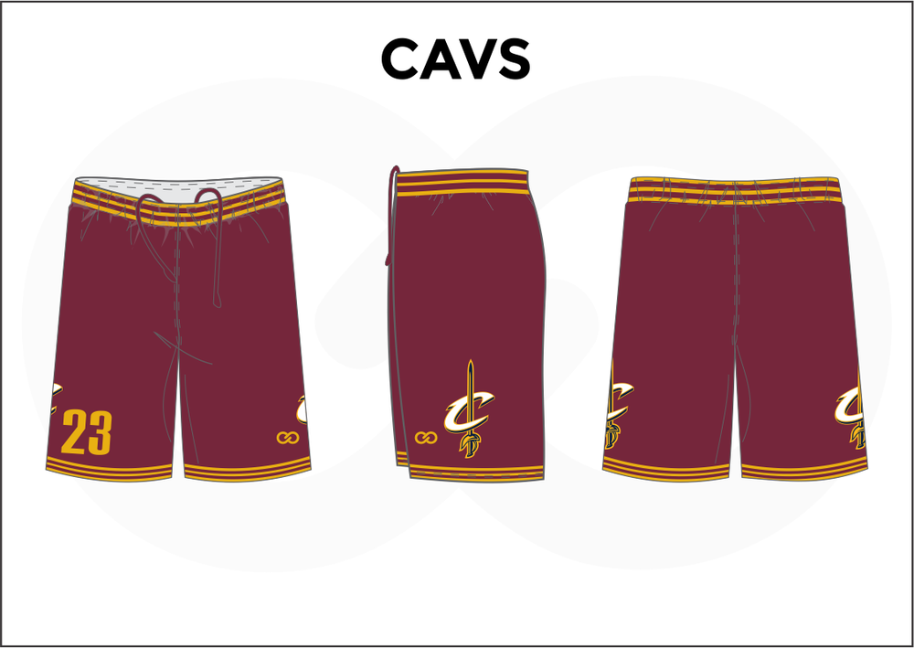 CAVS Maroon Yellow and White Men's Basketball Shorts