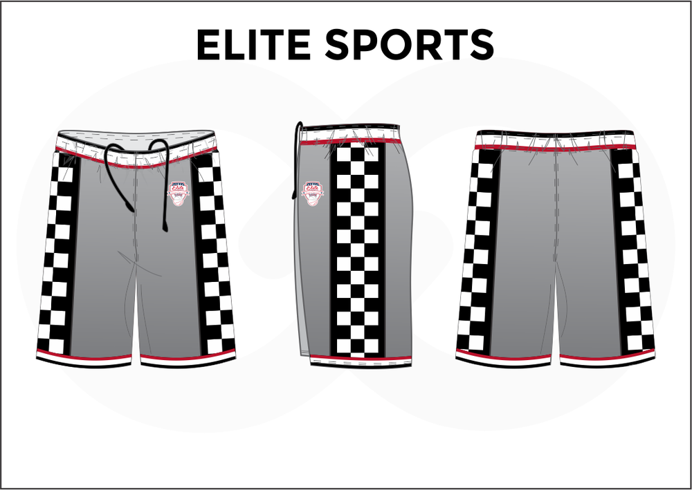ELITE SPORTS Gray Black Red And White Men's Basketball Shorts