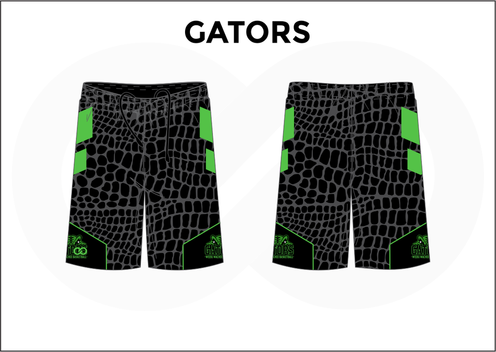 GATORS Black and Green Men's Basketball Shorts