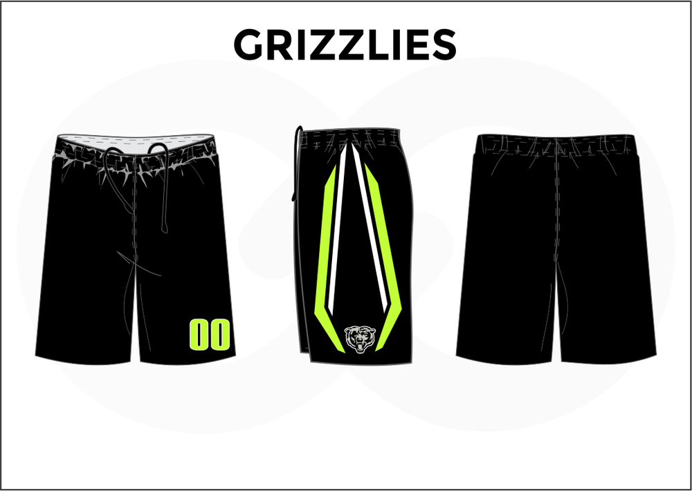 GRIZZLIES Black Yellow and White Men's Basketball Shorts