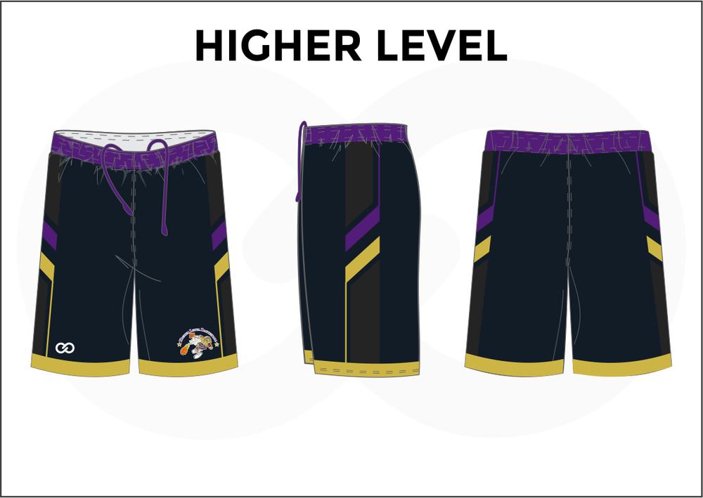 HIGHER LEVEL Black Yellow White and Violet Men's Basketball Shorts
