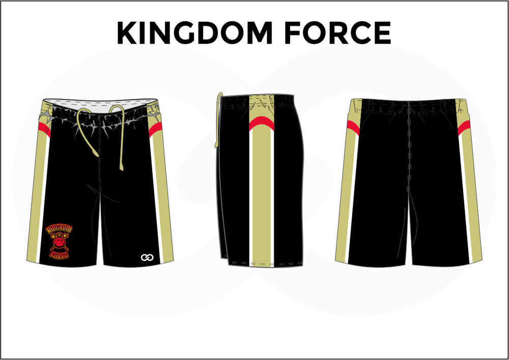 KINGDOM FORCE Black Red White and Khaki Men's Basketball Shorts