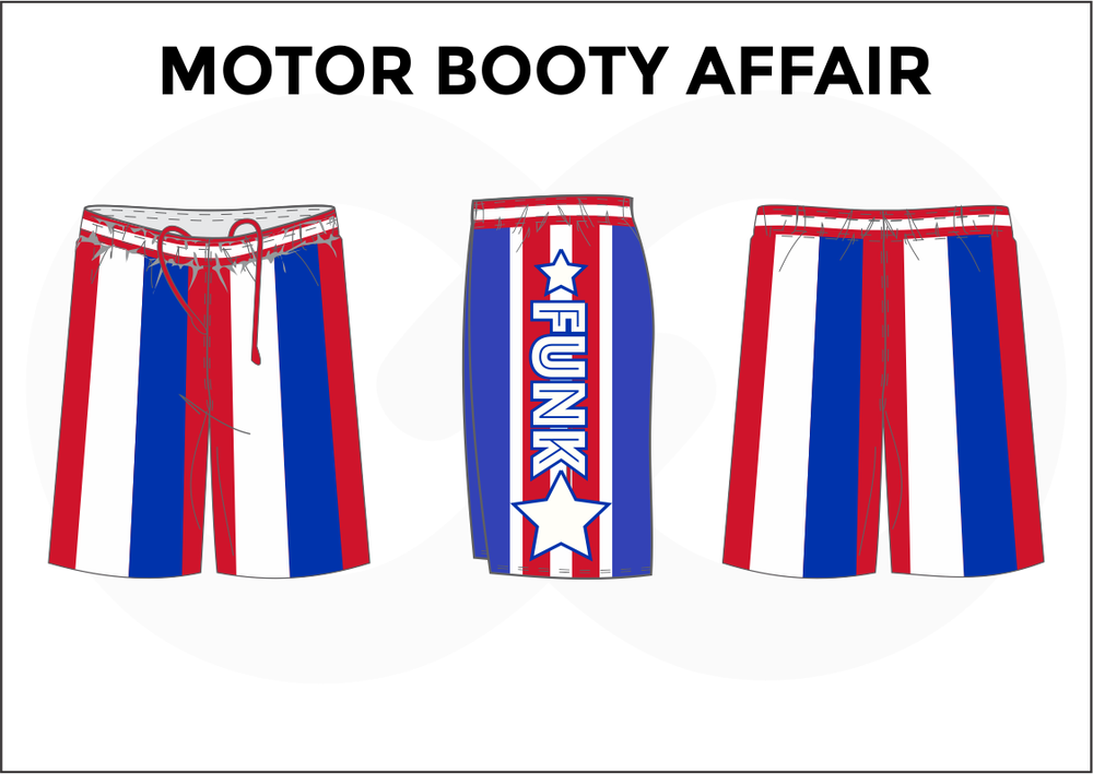 MOTOR BOOTY AFFAIR Red Blue and White Men's Basketball Shorts