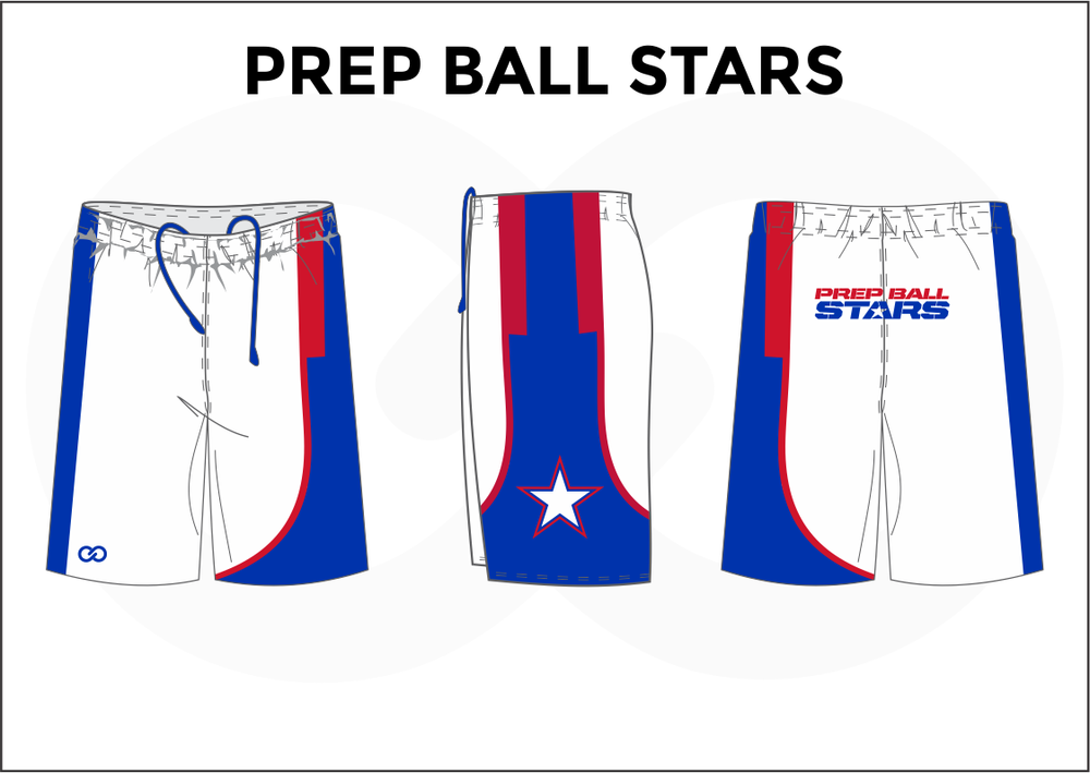 PREP BALL STARS White Red and Blue Men's Basketball Shorts