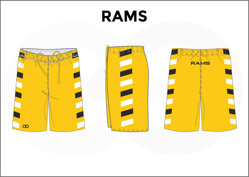 RAMS Yellow Black and White Men's Basketball Shorts
