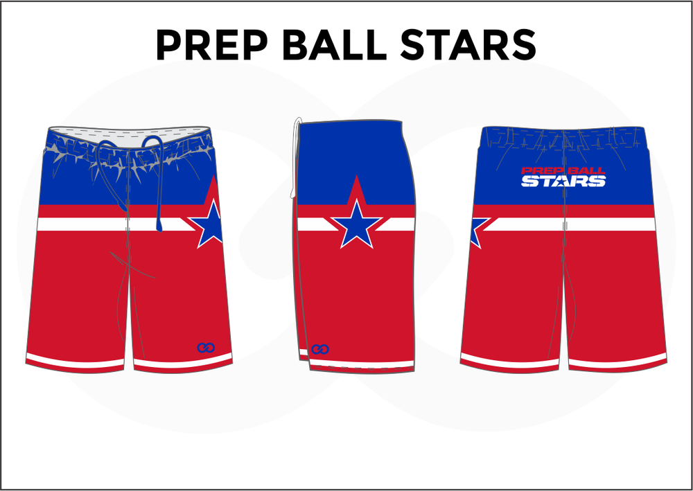 PREP BALL STARS Blue White and Red Women's Basketball Shorts