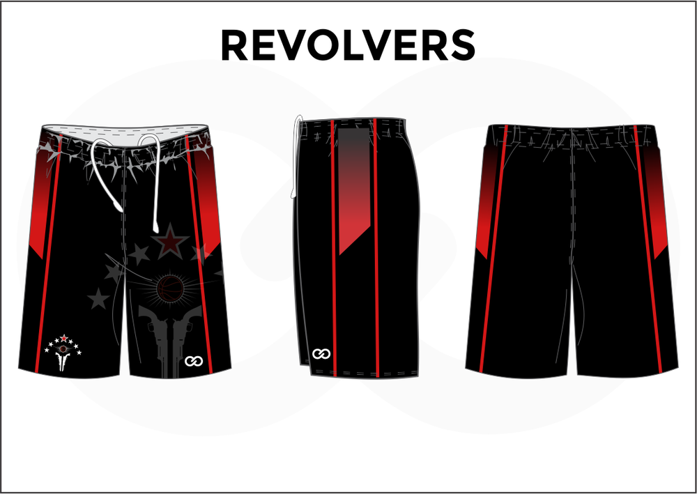REVOLVERS Black Red and White Women's Basketball Shorts