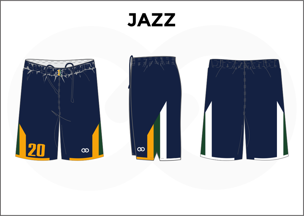 JAZZ Blue Yellow Green and White Women's Basketball Shorts