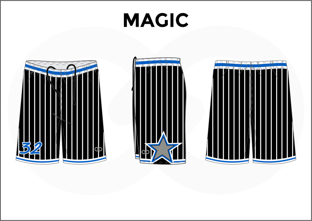 MAGIC Black Blue and White Women's Basketball Shorts