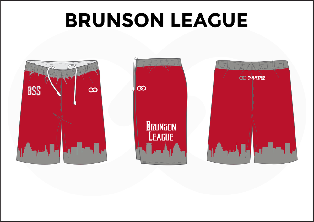 BRUNSON LEAGUE Red Gray and White Youth Boys & Girls Basketball Shorts