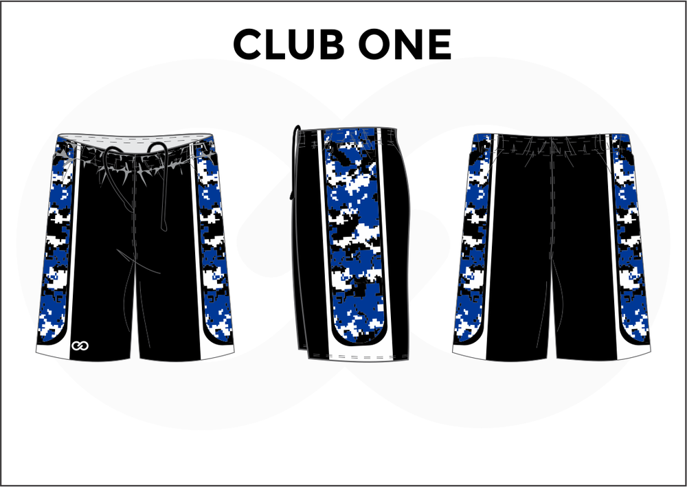 CLUB ONE Black Blue and White Youth Boys & Girls Basketball Shorts