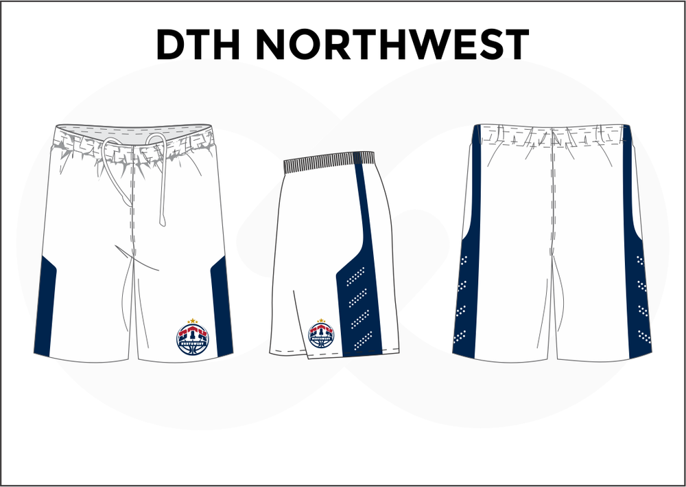 DTH NORTHWEST White Blue and Red Youth Boys & Girls Basketball Shorts