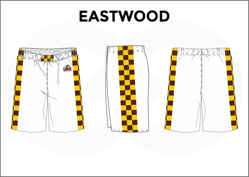 EASTWOOD White Yellow and Black Youth Boys and Girls Basketball Shorts